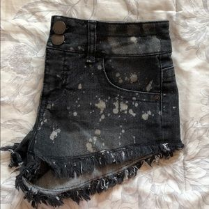 Black Splatter Jean Shorts
